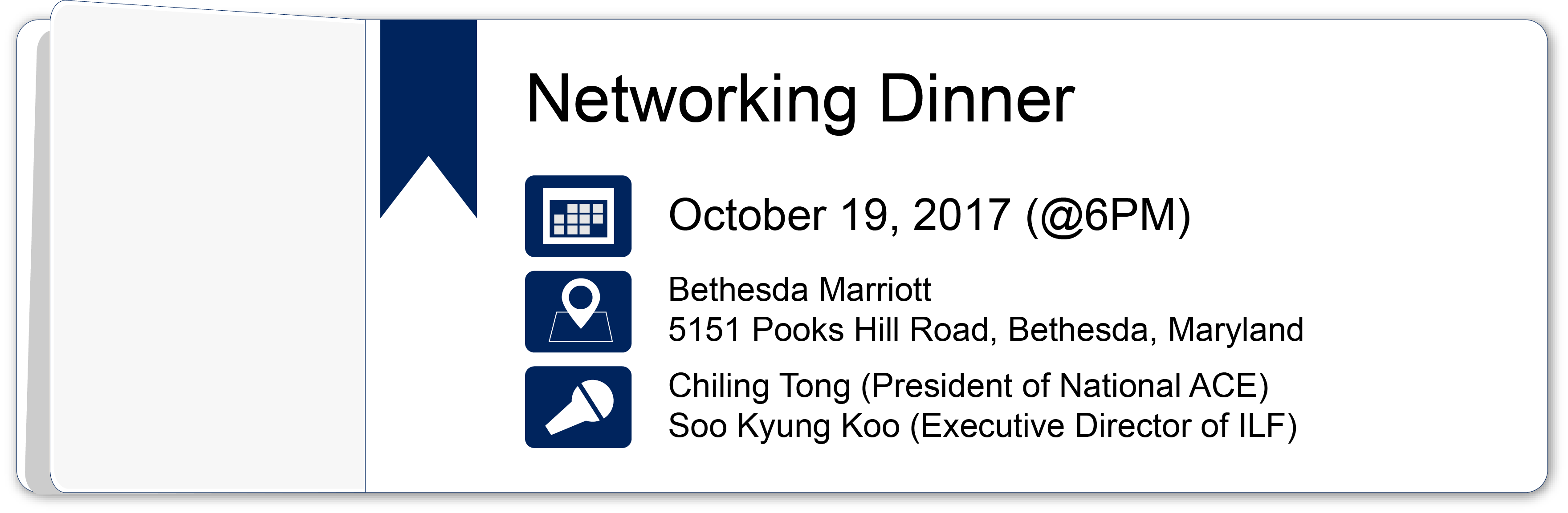 Networking Dinner – October 19, 2017