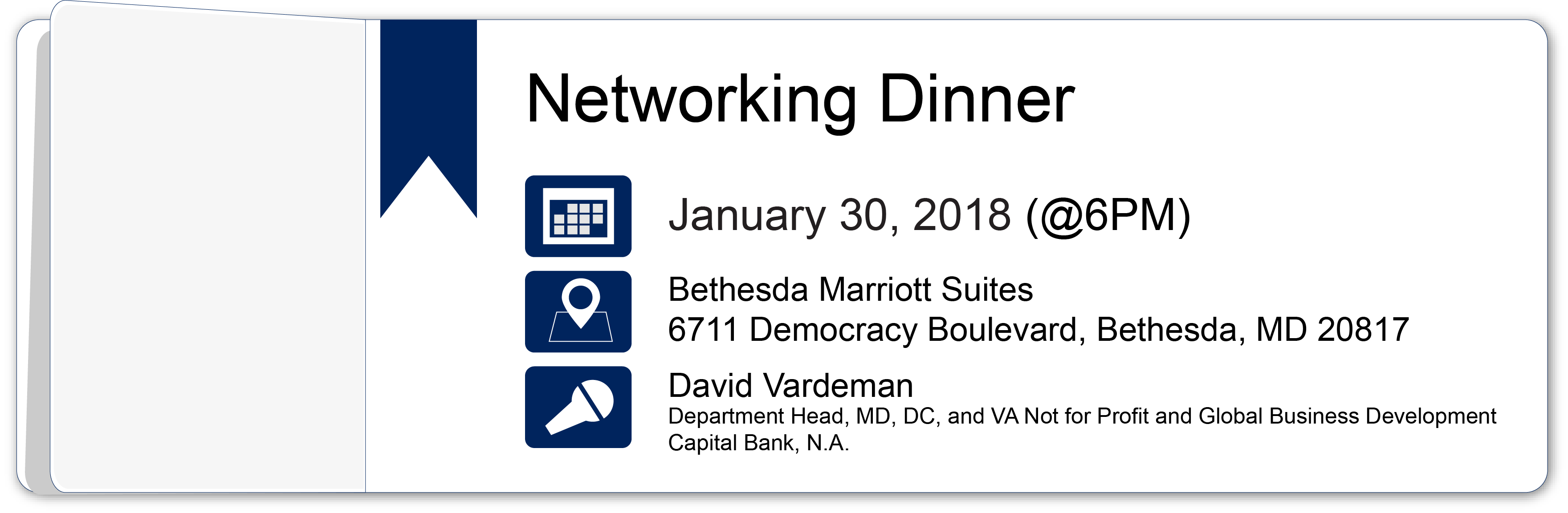 Networking Dinner – January 30, 2018